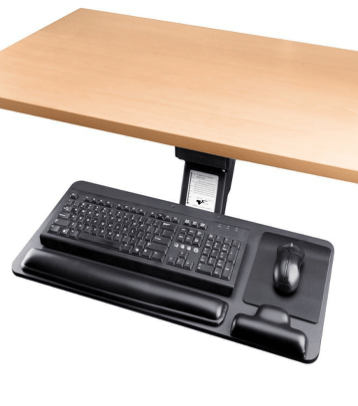 Cartmay keyboard tray adjusted to the desk