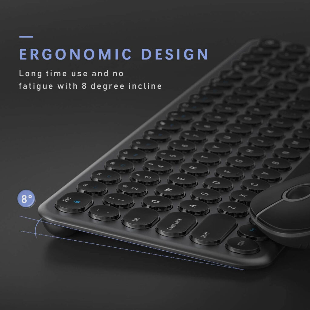 Jelly Comb keyboard preview which is our #2 item on the best quiet keyboard for typing list. The image shows 8 degree incline that provides no fatigue during typing.