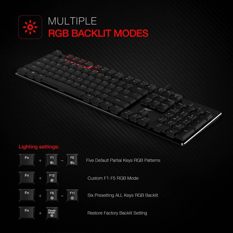 Havit Mechanical Keyboard sales picture showing different lightning settings