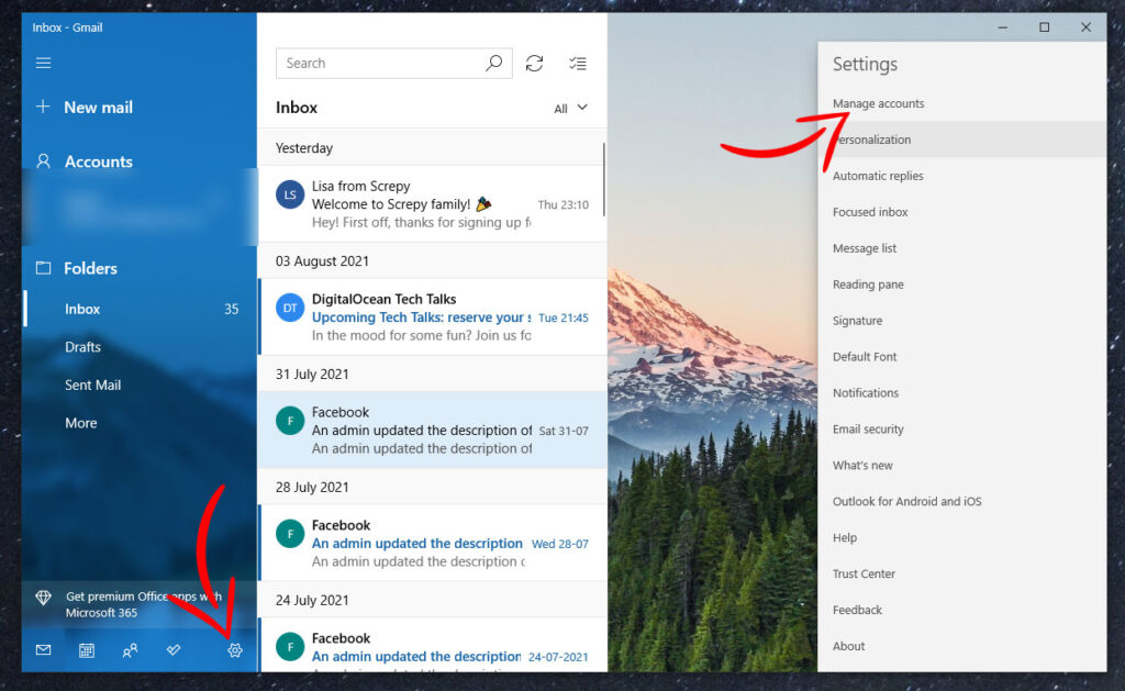 Mail App Manage Account