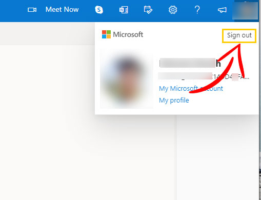 Outlook Mail Sign Out